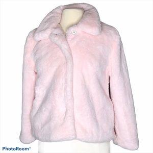 C&C California Pink Faux Fur Snap Front Coat Sz 14